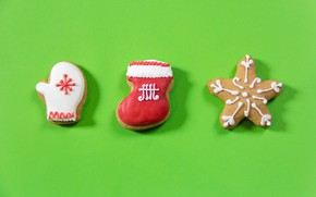 Picture winter, holiday, minimalism, sock, cookies, Christmas, three, New year, trio, green background, snowflake, cookies, Christmas, …