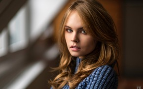Picture look, girl, face, model, hair, portrait, bokeh, Anastasia Shcheglova, Chris Bos