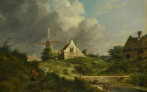 Picture oil, picture, windmill, 1807, Yan Holswich, Jan Hulswit, The landscape in the Gooi
