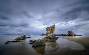 Picture the sky, rocks, coast