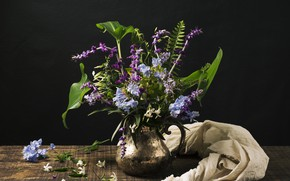 Picture flowers, table, bouquet, pitcher