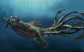 Picture diver, monster, Subnautica