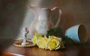 Picture flowers, table, roses, angel, dishes, pearl, beads, figurine, still life, the milkman