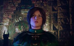 Picture lara croft, brown eyes, hair, long, green dress, screenshot, shadow of the tomb raider, fresco, …