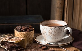 Picture Cup, chocolate bar, cocoa, beans