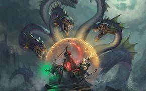 Picture sea, battle, Hydra, mages, fantasy art, Hugh Pindur