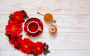 Picture flowers, tea, Apple, honey, Cup, red, Ellygri