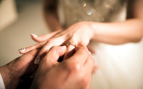 Picture hands, two, wedding, manicure, engagement ring