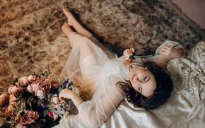 Picture girl, flowers, pose, carpet, barefoot, necklace, dress, brunette, pearl, decoration, barefoot, Альбина Пономарёва