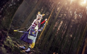 Picture forest, look, girl, light, trees, pose, style, weapons, lilac, trunks, hair, bow, hairstyle, blonde, costume, …