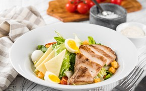 Picture egg, corn, cheese, meat, tomatoes, salad, Caesar