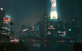 Picture Night, The city, Future, Neon, Cyberpunk 2077, Night cityscape, Cyberpunk 2077