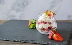 Picture ice cream, cream, dessert, berries, strawberry