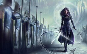 Picture girl, fiction, sword, army, art, soldiers, cloak, whip
