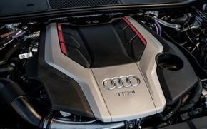 Picture Audi, engine, cover, sedan, TFSI, Audi A6, 2020, Audi S6, US-version, 444 HP, 2.9 L., …