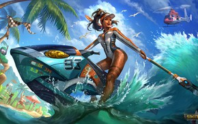 Picture sea, beach, summer, girl, boat, Smite, Awilix