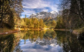 Picture autumn, forest, trees, mountains, lake, reflection, Germany, Bayern, Germany, Bavaria, Bavarian Alps, The Bavarian Alps, …