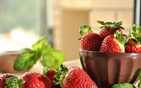 Picture berries, background, strawberry, bowl