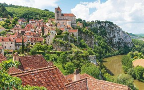 Picture the city, France, municipality, Saint-Cirq-Lapopie, medieval architecture, департамент Лот, south-western France, commune in the Lot …