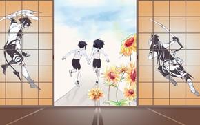 Picture road, flowers, children, future, past, sword, anime, the demon, art, guys, boys, D.Gray-man