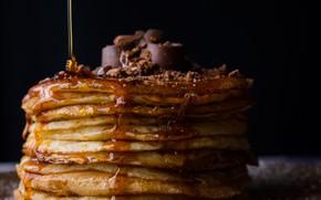 Picture chocolate, honey, Pancakes