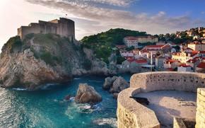 Picture sea, the city, rocks, home, resort, Croatia, Dubrovnik