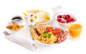Picture raspberry, coffee, chamomile, Breakfast, juice, tomatoes, bacon, croissant, muesli, porridge