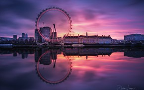 Picture sunset, reflection, river, London, Thames, Ferris wheel, Didier Lanore