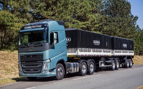 Picture road, trees, Volvo, cabin, the trailer, wheel, truck, tractor, trailers, Globetrotter, long-haul tractor, Volvo FH540