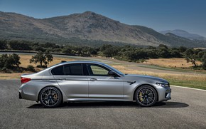 Picture grey, BMW, profile, sedan, 4x4, 2018, four-door, M5, V8, F90, M5 Competition