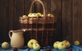 Picture basket, apples, pitcher, still life