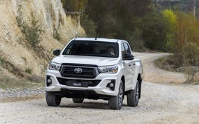 Picture white, Toyota, pickup, Hilux, Special Edition, on the road, 2019