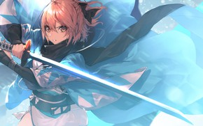 Picture girl, weapons, sword, anime, art, Fate