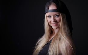 Picture look, girl, smile, portrait, blonde, cap