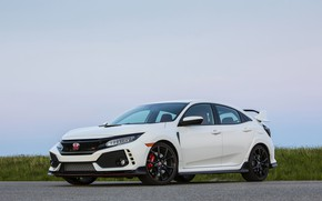 Picture white, the sky, grass, asphalt, Honda, hatchback, the five-door, 2019, Civic Type R, 5th gen, …