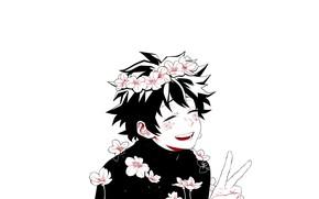 Picture flowers, guy, My Hero Academia, Boku No Hero Academy, Midori Isuku, My Hero Academy