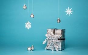 Picture winter, balls, holiday, Christmas, New year, box, Christmas decorations, новогодни декорации
