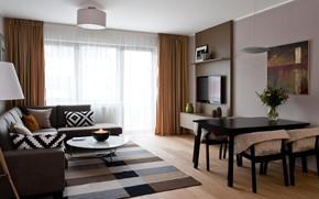 Picture interior, dining room, small room, gostinaya