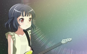 Picture music, background, guitar, art, girl, Love Live School Idol Project, Living love