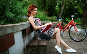 Picture girl, nature, bike, pose, Park, hairstyle, book, Tomasev Sergey