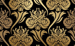 Picture flowers, background, pattern, black, gold