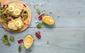 Picture food, bread, toast, sandwiches, egg, avocado, cutting Board, toasted
