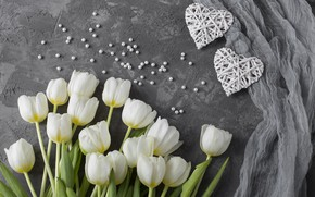 Picture love, flowers, bouquet, hearts, tulips, love, white, white, wood, flowers, romantic, hearts, tulips, valentine's day
