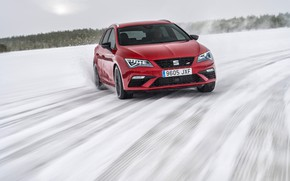 Picture winter, snow, red, skid, universal, Seat, 2017, Leon Cupra ST