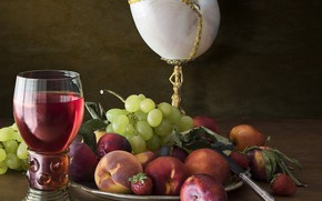Picture wine, glass, strawberry, grapes, fruit, still life, peaches, plum