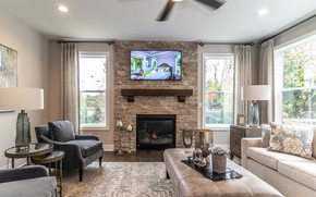 Picture interior, fireplace, living room, Westchester Farms