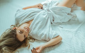 Picture girl, eyes, smile, beautiful, model, lips, face, hair, pose, makeup, girl on bed