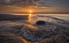 Picture sea, beach, sunset, coast