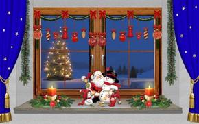 Picture Christmas, candles, snowman, Santa Claus, design