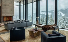 Picture Villa, interior, fireplace, living room, Yellowstone Residence, by Stuart Silk Architects